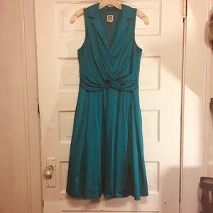 Anne Klein Sz 4 Aqua Vintage Styled Tea Dress